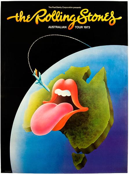 Rolling Stones 1973 Australian Tour Poster Lot Detail