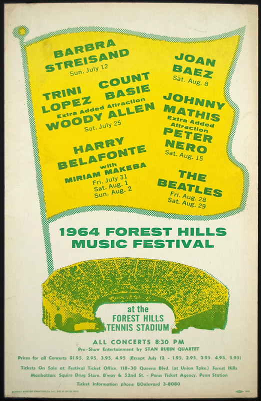 The Beatles Original 1964 Forest Hills Concert Poster Hover To Zoom