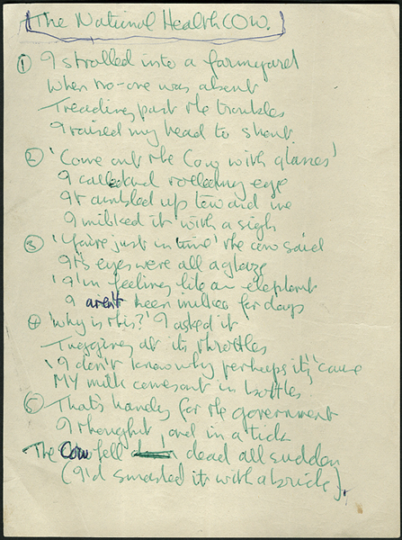 "John Lennon Handwritten ""The National Health Cow"" Poem  Draft"