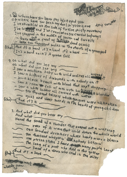 Bob Dylan A Hard Rain's A-Gonna Fall Handwritten Working Lyrics