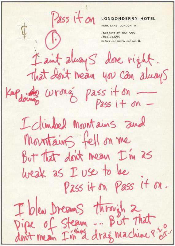 Jimi hendrix handwriting