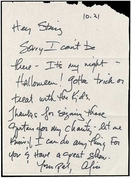Lot Detail - Alice Cooper Handwritten and Signed Letter to Sting
