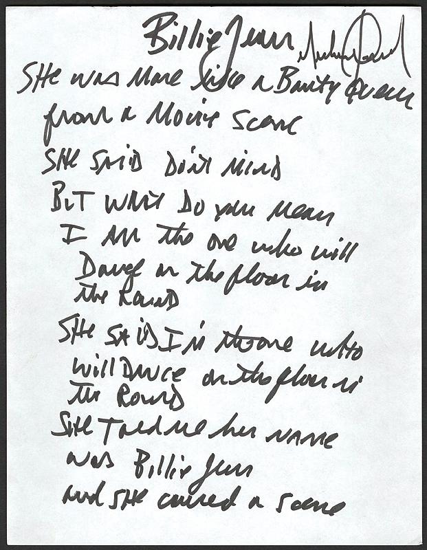 Lot Detail - Michael Jackson Handwritten and Signed Lyrics to ...