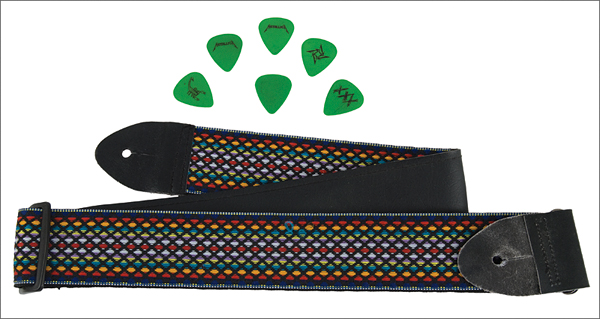 lot detail metallica lead guitarist kirk hammett used guitar strap and picks. Black Bedroom Furniture Sets. Home Design Ideas