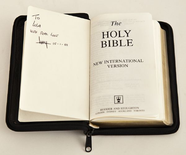 Larry Mullen, Jr. Signed and Inscribed Personal Bible