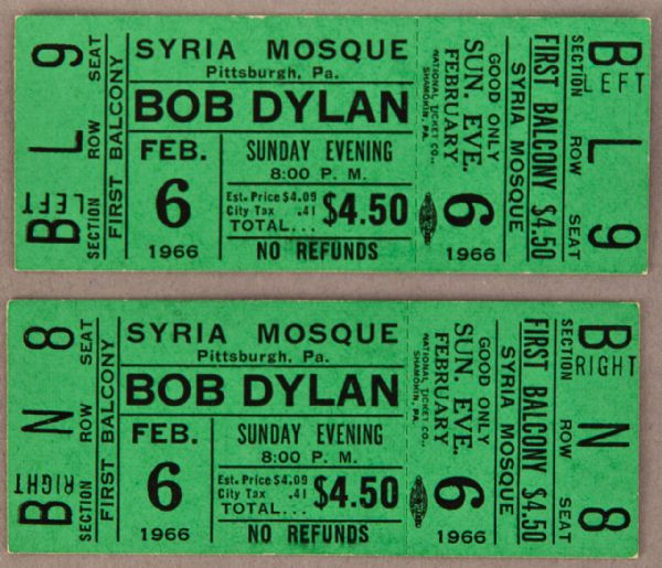 Bob Dylan Two Full Concert Tickets from 1966
