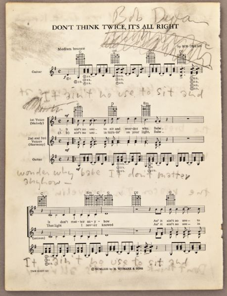 "Bob Dylan Signed and Inscribed ""Dont Think Twice"" Sheet Music"