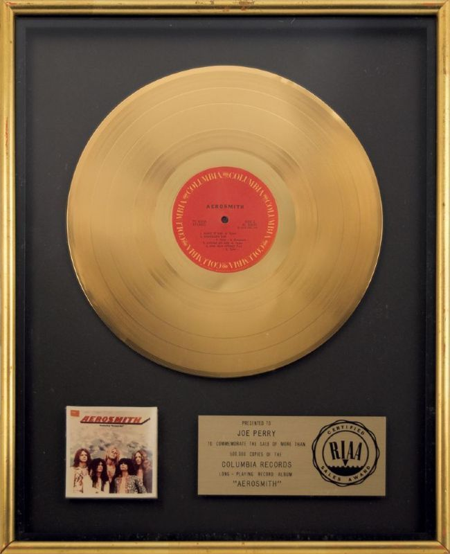 Lot Detail Aerosmith Riaa Certified Gold Record Award Presented