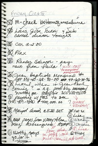 Madonna's Handwritten 1990 To Do Diary
