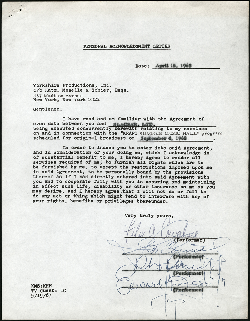 Lot Detail The Young Rascals Signed Agreement Letter