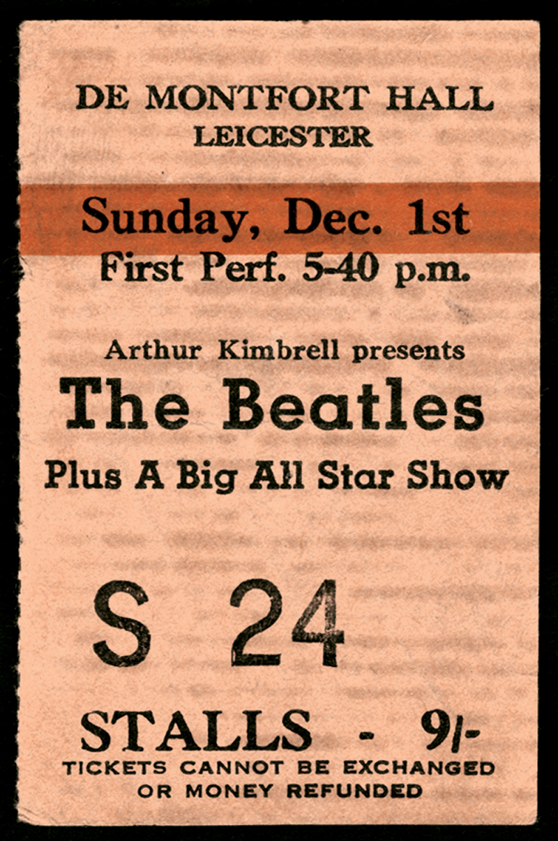 Lot Detail - Beatles 1963 De Montfort Hall Leicester Concert Ticket