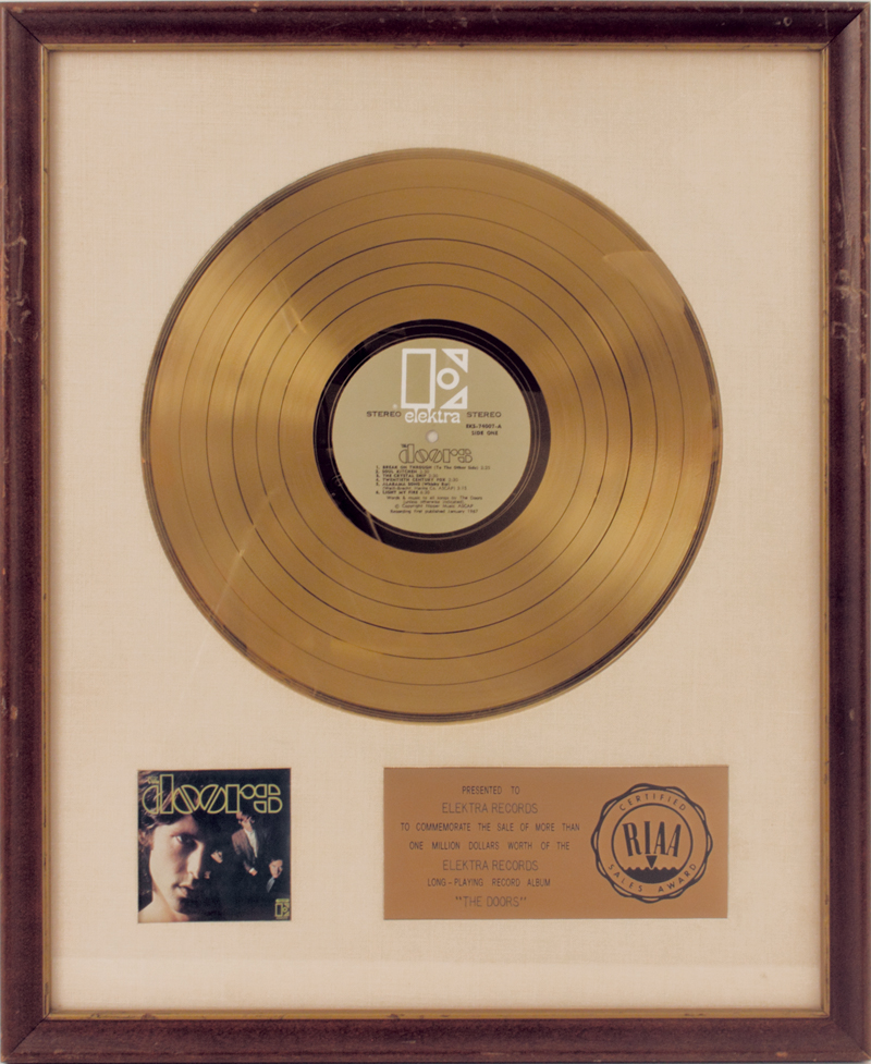 The Doors Original White Matte RIAA Gold Record Award & Lot Detail - The Doors Original White Matte RIAA Gold Record Award Pezcame.Com