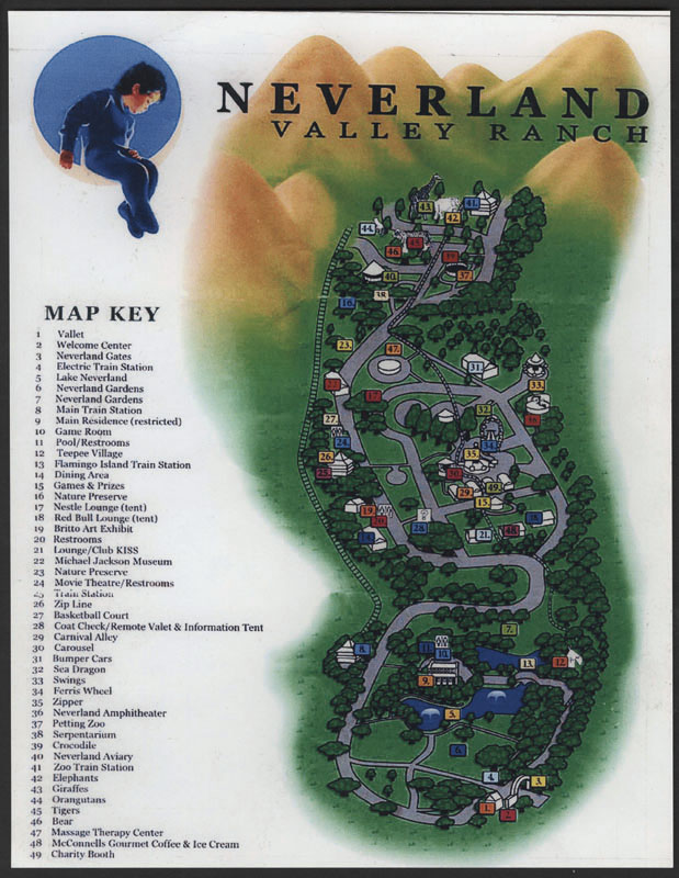 lot detail michael jackson neverland map