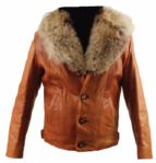 Elvis Presley Owned and Worn Custom Made Leather Jacket with Coyote Fur Trim