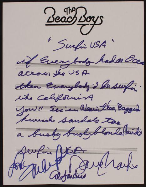 Lot Detail Beach Boys Handwritten Signed Surfin Usa