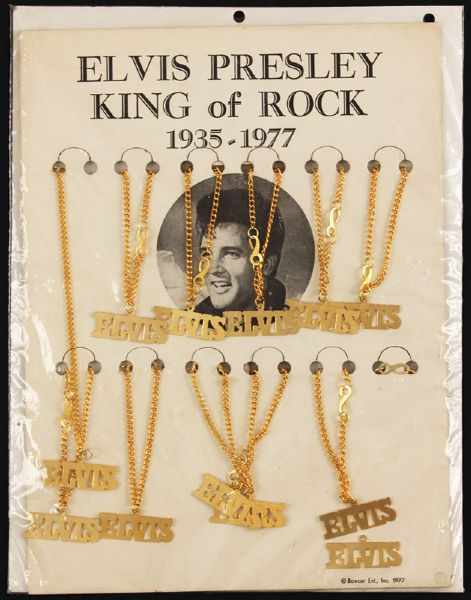 Elvis Boxcar 1977 Memorial Necklaces Store Display