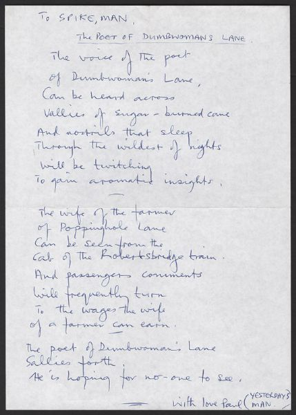 "A Handwritten Poem and Drawing by Paul McCartney Titled ""The Poet of Dumbwoman's Lane"""