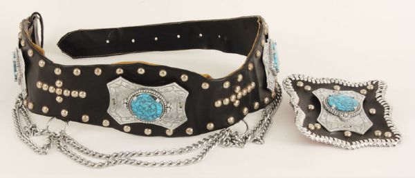 Elvis Presley's 1974 Custom Made Leather and Turquoise Belt