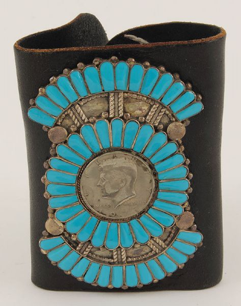 Elvis Presley Worn Leather & Turquoise Wrist Band