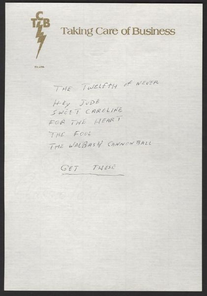 Elvis Presley Last Handwritten Two-Sided Note
