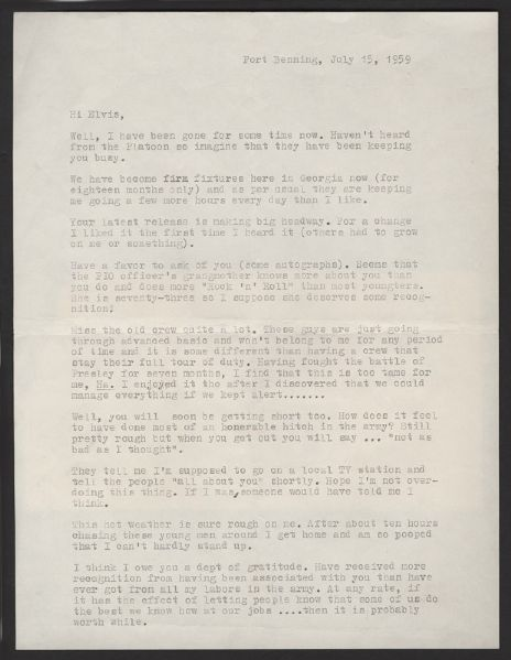 Elvis Presley's Army Sergeant Rock & Roll Letter and Envelope