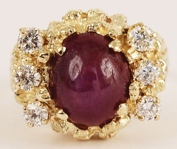 Elvis Presley Worn Red Star Ruby Ring With Diamonds