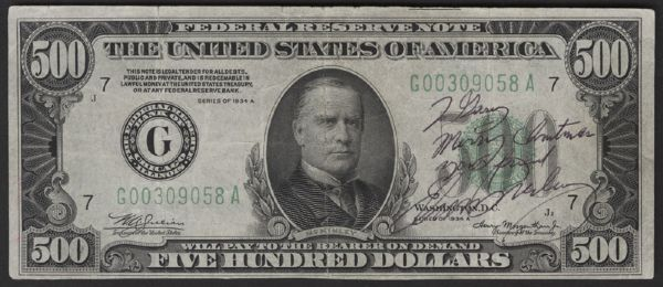 Elvis Presley Signed and Inscribed $500 Bill To Gary Pepper