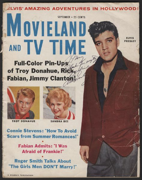 Elvis Presley Signed and Inscribed To Gary Pepper MovieLand and TV Time Magazine