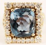 Elvis Presley Worn 14kt Blue Topaz and Diamond Nugget Ring