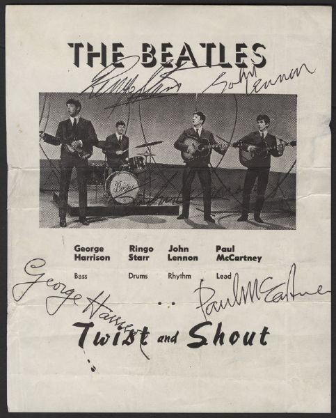 Beatles Signed Twist and Shout Promotional Flyer