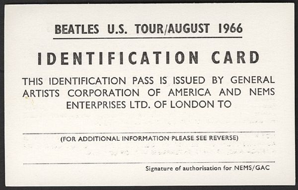 Beatles August 1966 U.S. Tour ID