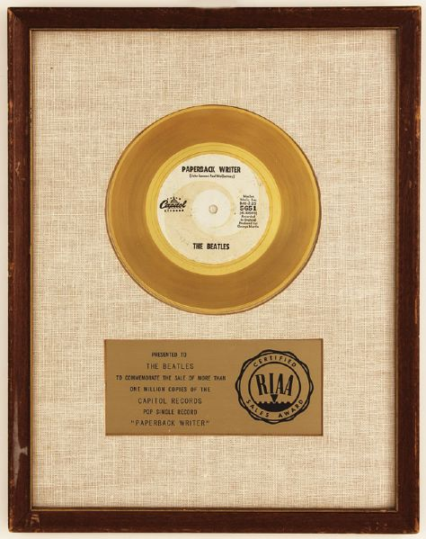 The Beatles Paperback Writer Original RIAA White Matte Award