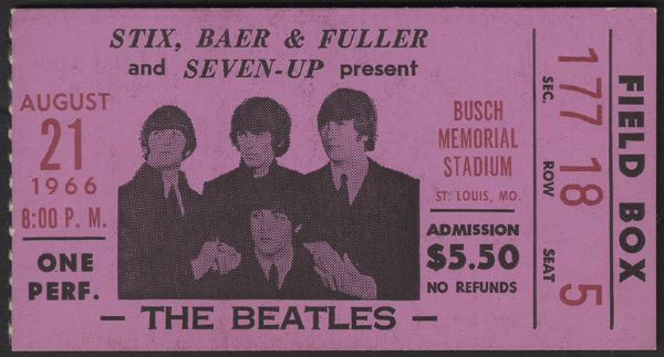 The Beatles 1966 Busch Stadium Concert Ticket