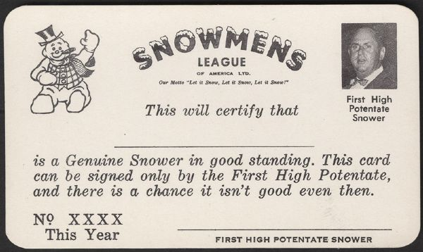 Elvis Presley Col. Parker Snowmens League ID Card