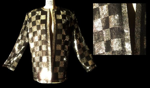 Elizabeth Taylor Worn Andre Van Pier Custom Made Black & Silver Sequenced Jacket