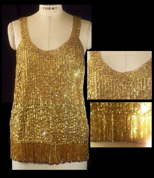 Liza Minnelli Worn Andre Van Pier Custom Made Gold Sequin Top With Fringe