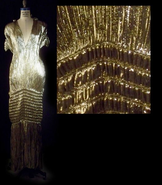 Linda Evans Dynasty Worn Andre Van Pier Custom Made Gold Lamé Dress