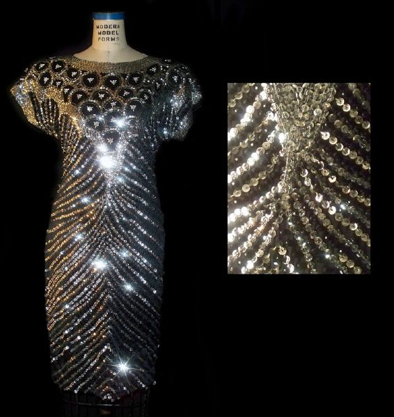 Elizabeth Taylor Worn Andre Van Pier Custom Made Crystal and Bugle Beaded Dress