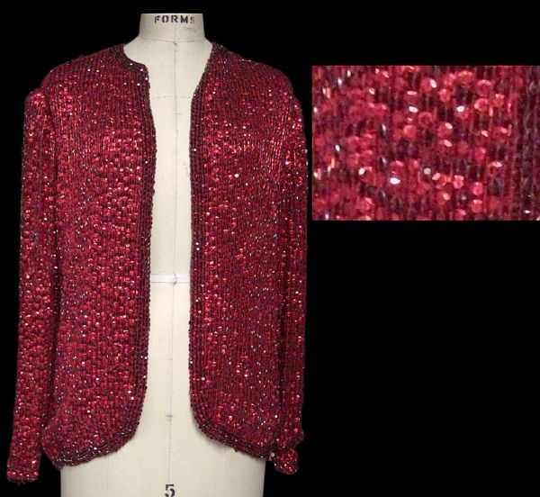 Liza Minnelli Worn Andre Van Pier Custom Made Ruby Red Crystal Sequin Beaded Jacket