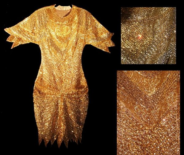 Elizabeth Taylor Worn Andre Van Pier Custom Made Gold Beaded & Sequined Dress