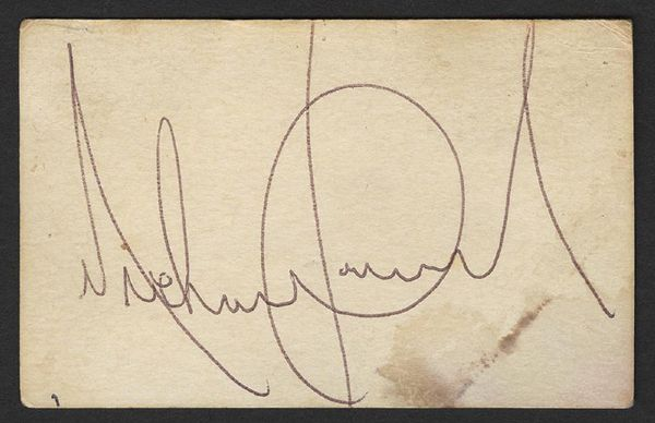 Michael Jackson Signed N.Y. Center for UFO Research Business Card