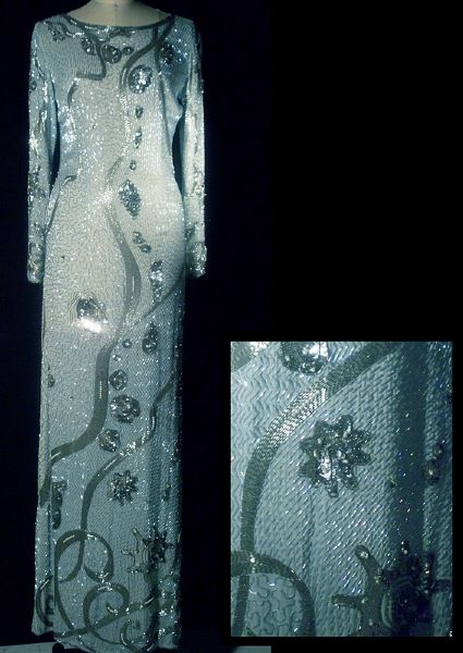 Princess Diana of Wales Worn Andre Van Pier Custom Made Beaded & Sequined Under the Sea Long Evening Dress