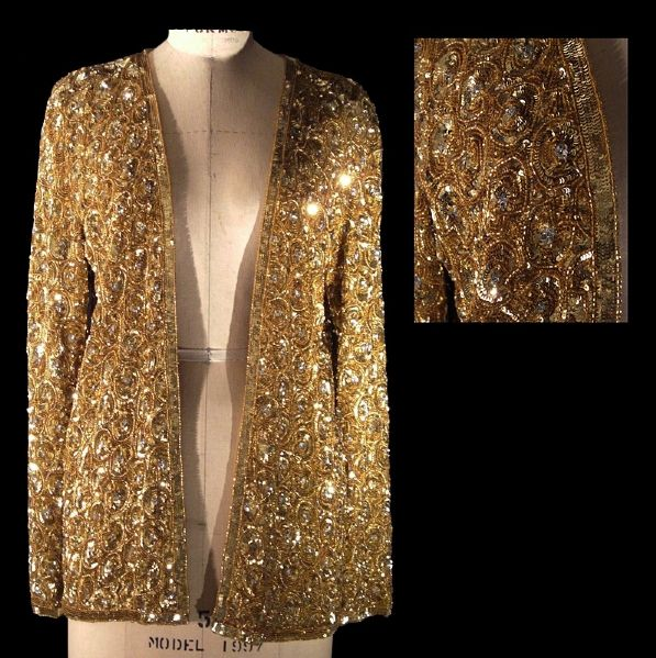 Princess Diana of Wales Worn Andre Van Pier Custom Made Gold Beaded & Silver Sequined Coat