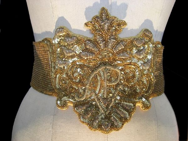 Princess Diana of Wales Worn Andre Van Pier Custom Made Gold and Silver Bead and Sequin Belt