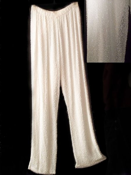 Princess Diana of Wales Worn Andre Van Pier Custom Made Beaded Chiffon Pants