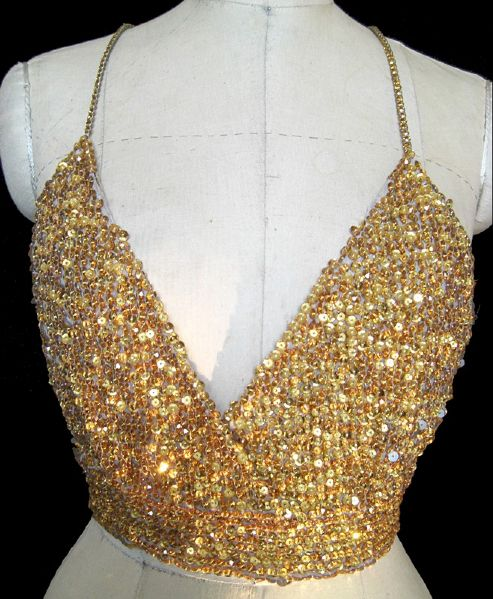 Madonna Sex Book Photo Shoot Andre Van Pier Custom Made Crystal Sequin Halter Bra