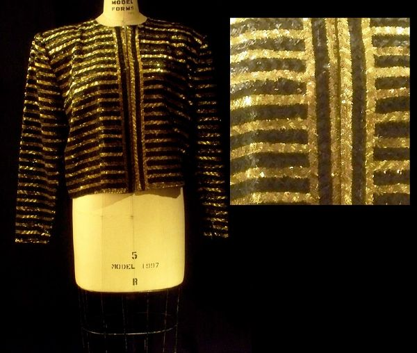 Elizabeth Taylor Worn Andre Van Pier Custom Made Gold & Black Sequin Jacket