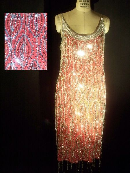Liza Minnelli Worn Andre Van Pier Custom Made Beaded Peau d'Soi Dress With Rhinestones