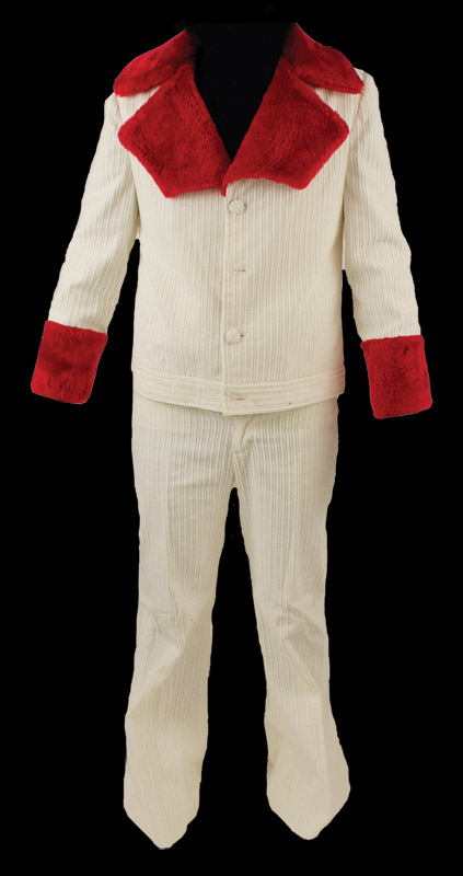 Presley owned and worn custom made white corduroy jacket with red