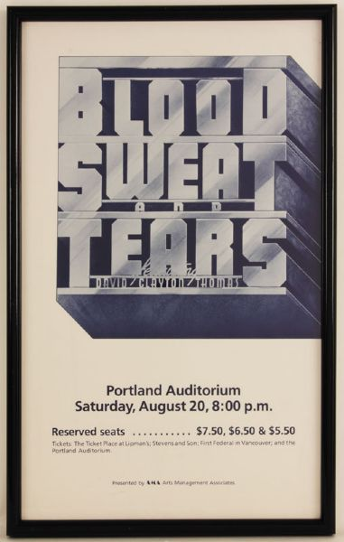 Blood, Sweat and Tears Original Concert Poster